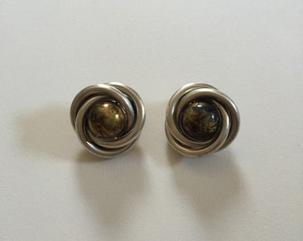 Heavy Vintage Oxidized 925 Sterling Silver and Brass Flower Clip On Earrings