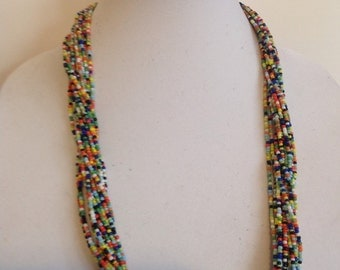 Multi- colored Glass Beads Necklace Removable Colored Memory Wire Multi-Strand Silver Cone and Endings