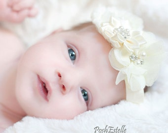 Baptism baby headband, baby girl headbands, christening headband, white baby headband, baby hair bows, newborn headbands, girls headband
