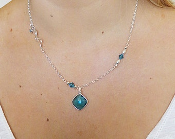 Silver Necklace with Blue Quartz & Crystal Necklace, SN-91.  Earrings and Bracelet also available.
