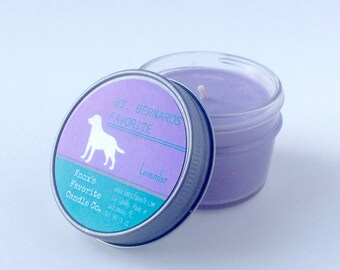 Scented Candle, Lavender Soy Candle, Dog Lover Gift, Gift for Her, Gift for Him, Dog Candle, St. Bernards Favorite Soy Candle 4oz Mason Jar