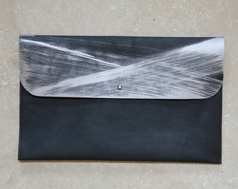 The Athens Clutch - Black Leather Clutch