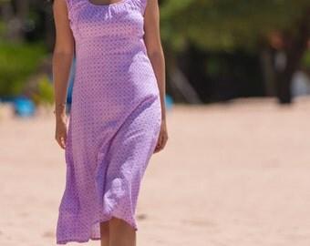 Cap Sleeve Dress, Summer Dress, Casual Dress, A-Line Dress, Purple Dress, 100-110