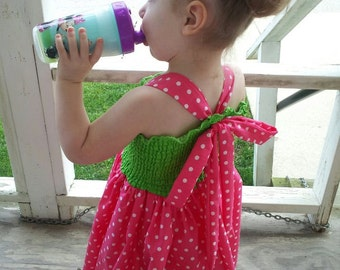 Pink and Green Adjustable Shirred Twirl Dress - Any Color Combo Available - watermelon - twirl - dot - stretch - shirred - adjustable