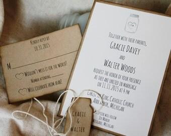 Mason Jar Wedding Invitations, Rustic Wedding Invitation, Handmade Wedding Invitation Sets, Barn Invitaiton, Barn Wedding, Invitation Sample