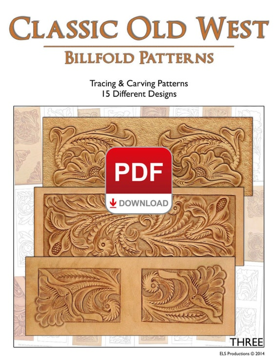 Classic old west billfold patterns by proleathercarvers