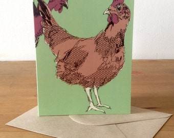 """Green """"chicken photo booth"""" greetings card - blank inside"""