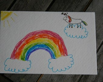 Rainbow and Unicorn Postcard - Proceeds go to an Animal Shelter!