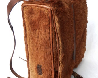 Swiss military cowhide backpack Haaraff Felltornister