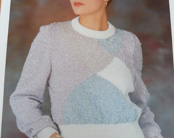 Original vintage knitting pattern by Patons for a round neck ladies sweater with deep rib in double knitting
