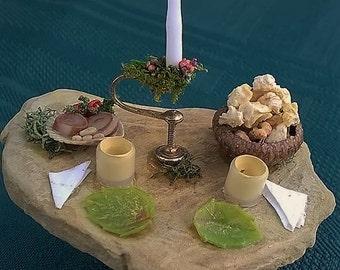 Miniature Fairy Table (set for a meal), Fairy house, Fairy Garden