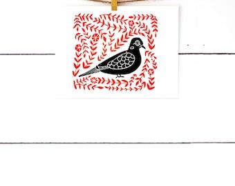 Scandinavian Folk Art, Bird Art Print, Nordic Print, Mourning Dove, Block Print Art, Linocut, Lino Print, Scandinavian Print, Folk Print