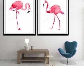 Flamingo Pink/Red Version Watercolor Art Prints - Set of 2  Flamingo Giclee Wall Decor  Housewarming Gift Room Decor