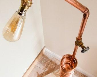 Copper Floor Lamp, Tall Floor Lamp, Floor lamp Wood, Floor Lamp Copper, Reading Lamp, Indoor Light, CD Rack, Copper lamp, Copper Light