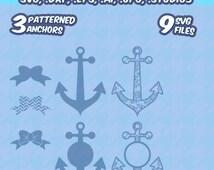 Coral Anchors svg, Preppy Monogram Frames 2, Patterned, screen printing, SVG, DXF, EPS, Cut File, Silhouette Studio, Cricut, Vinyl Cutter