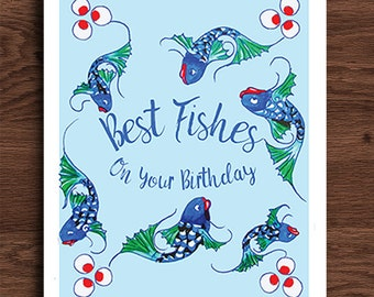 Best Fishes Birthday Card, Best Wishes Card, Nautical, Beach Birthday Card, Card For Child, Card For Him, Card For Her