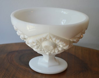 Kemple Milk Glass Candy Dish, Pedestal Bowl