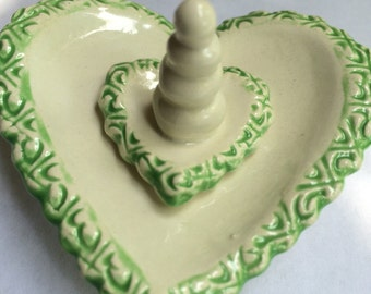 Handcrafted White and Lime Green Heart Ring holder
