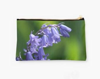 Purple Clutch ~ Rich Green & Violet Zip Pouch ~ Floral Makeup Bag ~ Feminine Gift for Her ~ Flower Photo Zipped Bag ~ Flower Zipper Pouch