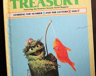 Sesame Street Treasury Volume 5-Number 5 and the Letters E & F-Jim Hensens Muppets-Grover-Vintage kids book-Learning book-Alphabet book