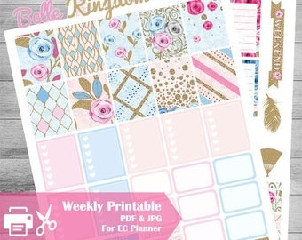 Printable Planner Stickers, Glitter Planner, use with Erin Condren, Weekly Kit, Sale Stickers, Pink, Pastel, Belle, Kingdom, Rose, Beauty,