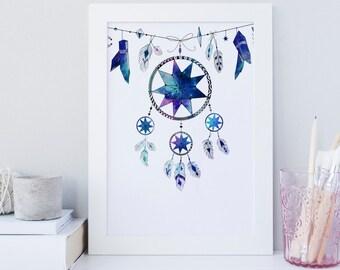 Dream catcher wall art print, Printable wall art, Boho art decor, galaxy decor, Dream catcher decor, tribal print decor, wild free print