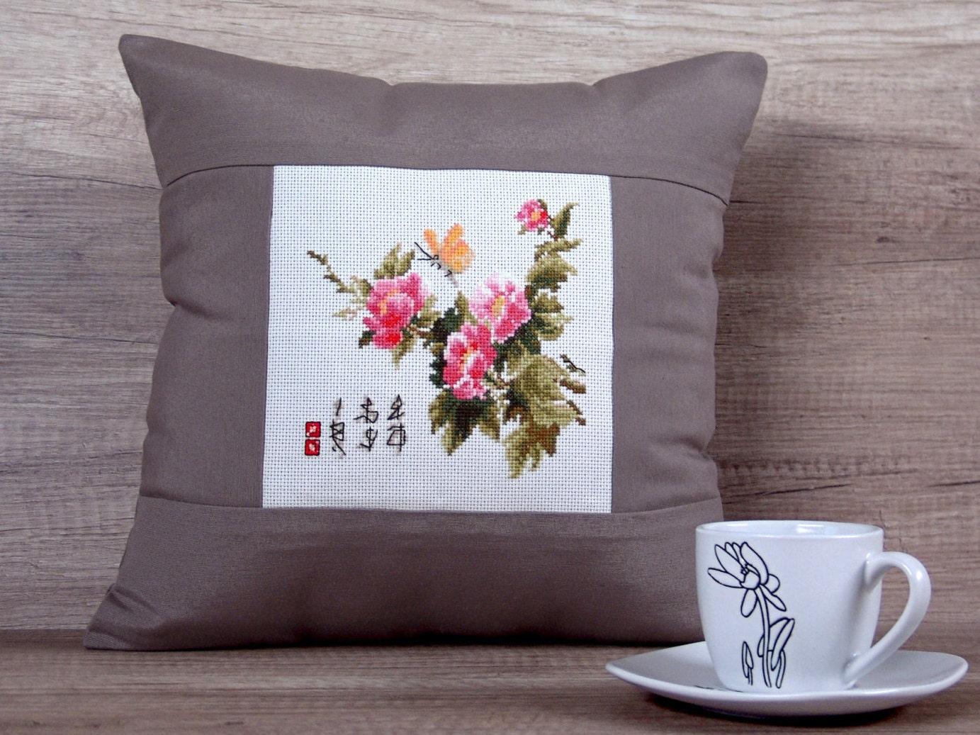 Asian cross-stitch pillow covers embroidered japanese throw