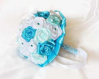 BLUE Wedding Bouquet, Turquoise, Sea Blue Bouquet, Seaside Bouquet, Satin Wedding Bouquet, Bridal Bouquet, Bridesmaids Bouquet, Toss Bouquet