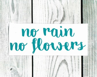 No Rain No Flowers - Vinyl/Decal/Sticker/Car/Truck/Phone/Laptop/Yeti/Mug/Positive/Vibes/Quotes/Rainbow/Inspire/Inspiring/Inspirational