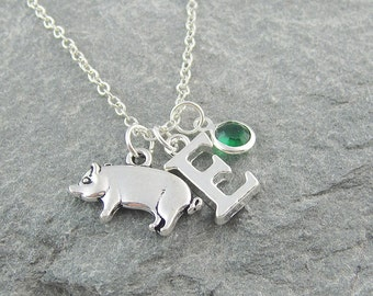 Pig necklace, personalized jewelry, initial necklace, swarovski birthstone, gift for her, pig jewelry, silver pig, hog charm, farm