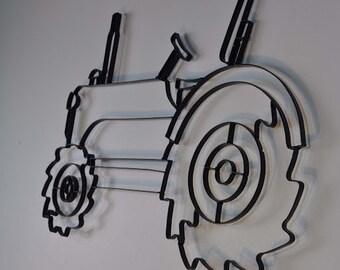 Farm Tractor Black Metal Wall Art Decor Sculpture