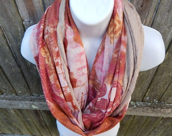 Pink/ Brown / Red/ Tan/ Gold Boho Infnity Scarf