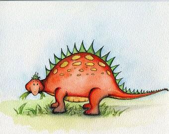 Giclee Print of an Original Watercolour Painting.  Dinosaur Stan The Stegosaurus