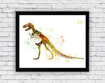 T-Rex Dinosaur  watercolor print art, T-Rex Home Decor, T-Rex Wall Decor, T-Rex Wall Art, T-Rex  poster