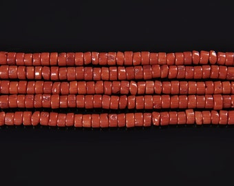 Nice Red Orange Bamboo Coral Coin Loose Beads Size:3X5mm15.5'' Long Per Strand I-COR-0235