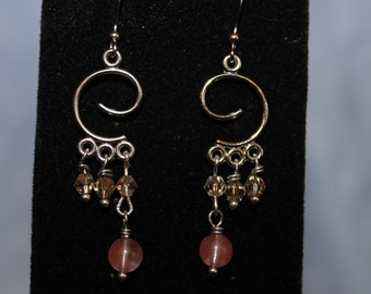 Swirly Crystal Cascade Earrings