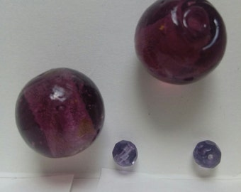 Beads, Lamp worked Beads, Large Lampworked Purple Beads. Listing is for 2 Beads.