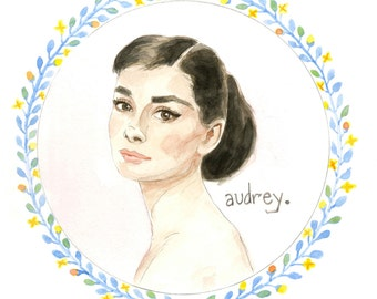 Audrey Hepburn Watercolor Illustration Original Art Print 5x7