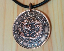 Dragon Coin Pendant Charm, Vintage Chinese Dragon Coin Necklace, China Kiang Soo Ten Cash Copper Coin, Lucky Chinese Dragon Necklace