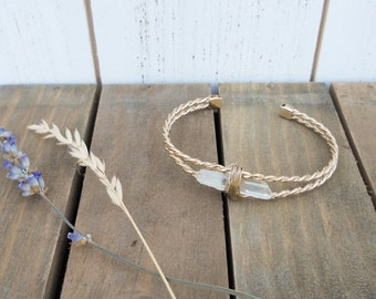 Quartz crystal point gold cuff bracelet, braided & wrapped - S/M - bohemian boho gifts for her