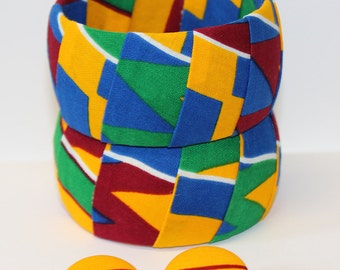 Kente Bangle African Jewelry Set Kente Bubble Skirt Bracelet Afrocentric Statement Bracelet Colorful Wedding Kente Fabric Covered Bangle HOT