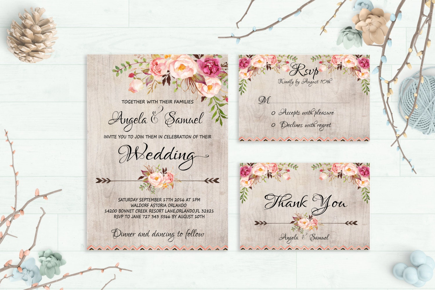 Wedding Invitation Creator Free Online: Rustic Wedding Invitation Printable Wedding By
