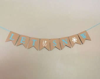 Let It Snow Banner, Holiday Banner, Winter Banner, Happy Holidays, Snowflake, Blue, White, Holiday Decor