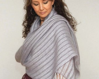Handwoven mohair shawl. Large scarf grey and mauve, mohair and tencel. Handwoven pashmina warp.