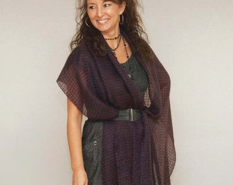 Handwoven shawl, navy-brown. Summer shawl. Bridal shawl. Handwoven pashmina mohair. Silky handwoven shawl.