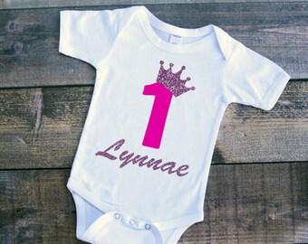 Princess birthday baby girl personalized bodysuit tshirt
