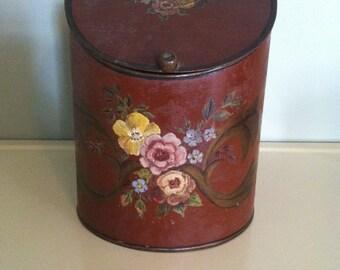 antique tin canister 1800s painted tin tole vintage baking soda Philadelphia kitchen decor kitchen storage toleware J. Hall Rohrman and Son