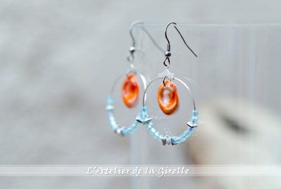 Creole SARRAN Blue Aquamarine - Earring hoops creole with Eye of Santa Lucia and glass faceted round beads