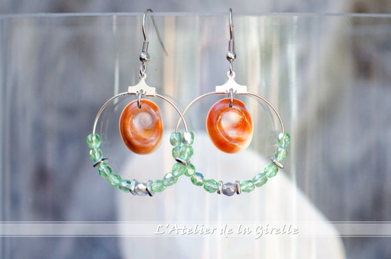 Creole SARRAN Green - Earring hoops creole with Eye of Santa Lucia and glass faceted round beads