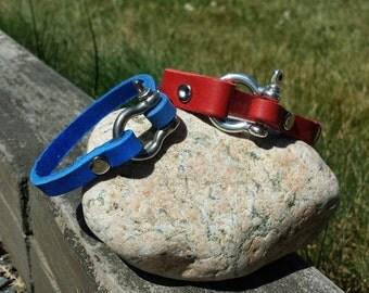 GENUINE LEATHER  BRACELETS, Soft Leather, solid metal shackle